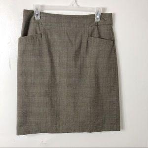 Banana Republic Plaid Pencil Skirt Pockets 10